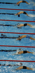 First swimmers start in third heat of men's 4 X 100m medley relay at 14th FINA World Championships in Shanghai