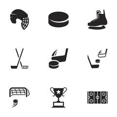 Icons for theme hockey, vector, icon, set. White background