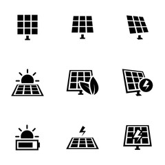Icons for theme solar panels, vector, icon, set. White background