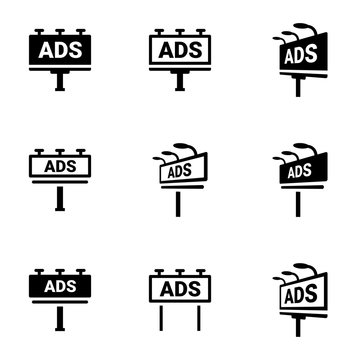 Icons for theme billboard, vector, icon, set. White background