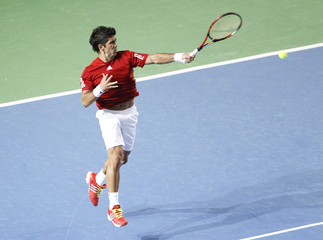 Spain's Verdasco plays a return to Belgium's Malisse during their Davis Cup match in Charleroi
