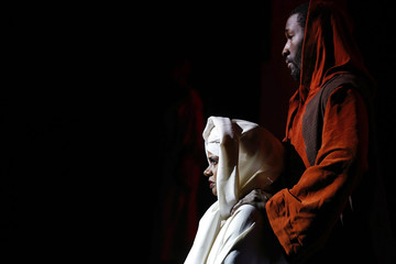"""Desiree Springer and Tennyson Palmer, playing the roles of Mary and Joseph, perform during a dress rehearsal of """"Black Nativity"""" in Boston"""