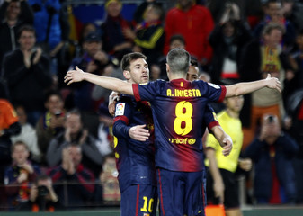 Barcelona's Messi celebrates his goal against Deportivo Coruna during their Spanish first division soccer match in Barcelona