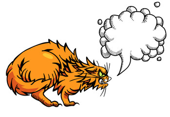 Cartoon image of angry cat. An artistic freehand picture. With speech bubble.