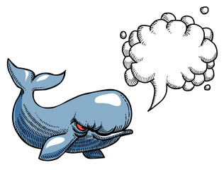 Cartoon image of angry whale. An artistic freehand picture. With speech bubble.