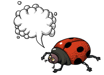 Cartoon image of ladybug. An artistic freehand picture. With speech bubble.