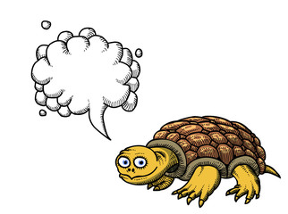 Cartoon image of turtle. An artistic freehand picture. With speech bubble.