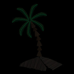Palm tree embroidery stitches imitation on black background
