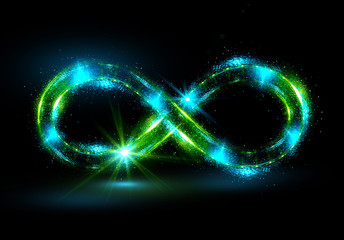 Lighting 3d infinity symbol. Beautiful glowing signs..Sparkling rings. Swirl icon on black background..Luminous trail effect. Colorful isolated sparkling loop.