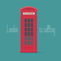 England, London red phone booth vector illustration with quote