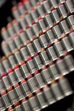 Lipstick is displayed in the M.A.C flaghip store in Paris