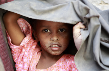 A newly arrived Somali refugee child is pictured in the Kenya-Somalia border town of Liboi