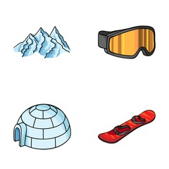 Mountains, goggles, an igloo, a snowboard. Ski resort set collection icons in cartoon style vector symbol stock illustration web.