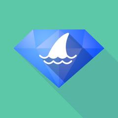 Long shadow diamond with a shark fin