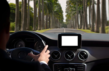 Man driving car with isolated screen on dashboard, trough palm street