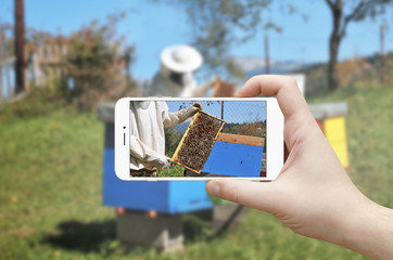 Man taking photo of beekeeper with mobile phone