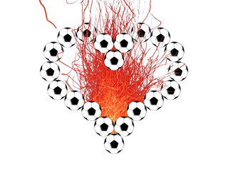 Heart outline from soccer balls and bright sparks on a black background