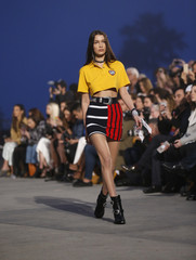 A model walks the runway during the 2017 Tommy Hilfiger Runway Show in Venice