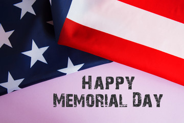 Text Memorial Day on American flag  background. toned image card