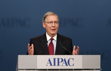 Senate Minority Leader Mitch McConnell speaks at the American Israel Public Affairs Committee policy conference in Washington