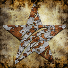 Abstract star on military background