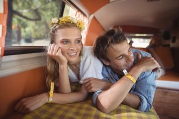 Couple resting in van