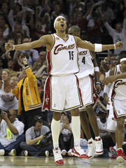Moon of Cleveland Cavaliers celebrates after Boston Celtics turnover during NBA Eastern Conference playoff series in Cleveland