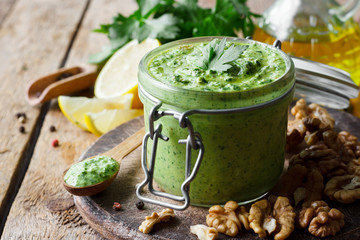 Pesto sauce with parsley and walnuts