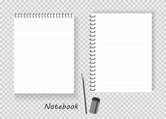 set of notebook. paper sheets, lined and note paper