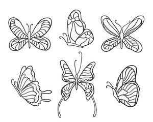 Set of butterflies. Butterfly icons isolated on transparent background.
