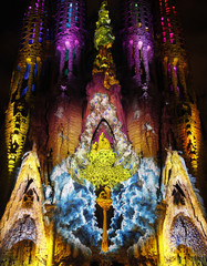 "The Basilica Sagrada Familia is illuminated during the ""Montreal Signe Ode a la Vie"" light show by Canadian company Moment Factory as part of the Merce Festival in Barcelona"