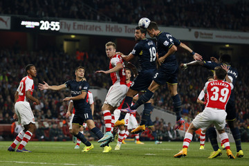 Southampton's Gardos heads during their English League Cup soccer match against Arsenal at the Emirates stadium in London