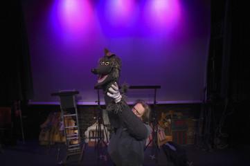 Liam Lambert prepares to perform at Lambert's Puppet theatre in Dublin