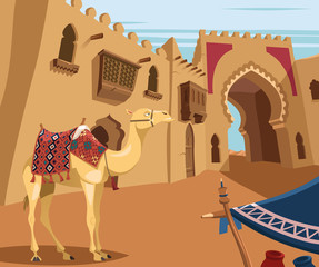 Camel in Arabic desert town