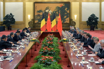 Belgium's King Philippe meets with Chinese President Xi Jinping at the Great Hall of the People in Beijing