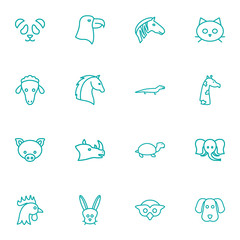 Set Of 16 Brute Outline Icons Set.Collection Of Giraffe, Rabbit, Elephant And Other Elements.