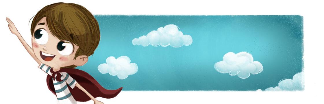 Niño valiente superheroe con fondo de nubes
