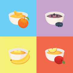 fruit organic jam and smoothie vector illustration.