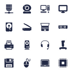 Set Of 16 Computer Icons Set.Collection Of Photocopy, Display, Record And Other Elements.