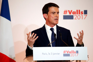 French politician and former Prime Minister Manuel Valls unveils his election platform to the media in Paris