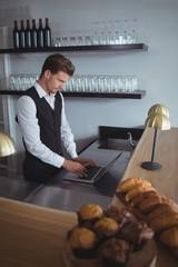Waiter using laptop at counter