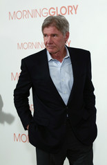 Harrison Ford poses during the presentation of the movie in Madrid