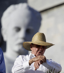 Cuba's President Raul Castro looks at his watch at the May Day parade in Havana's Revolution Square