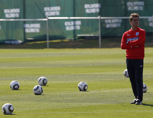 England's coach Capello conducts a World Cup soccer training session near Rustenburg
