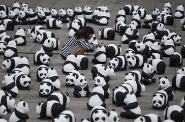 Woman takes pictures of installation of panda bear sculptures in Berlin