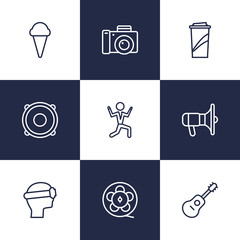 Set Of 9 Pleasure Outline Icons Set.Collection Of Bullhorn, Photo Camera, Vr Helmet And Other Elements.