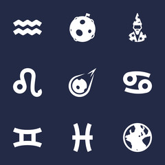 Set Of 9 Galaxy Icons Set.Collection Of Crab, Augur, Water Bearer And Other Elements.