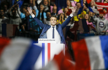 Head of the political movement En Marche !, or Onwards !, and candidate for the 2017 presidential election Macron, delivers a speech during a campaign rally in Lyon