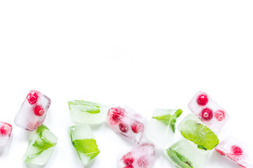 fresh cranberry in ice cubes on white background top view mock-up