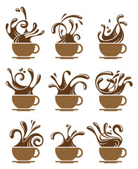 collection of cup with splashing coffee